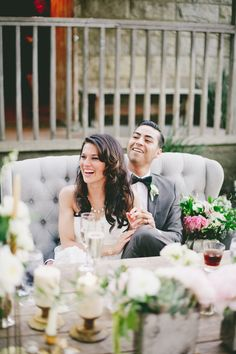 love the vintage couch for a sweetheart's table - Photography: onelove photography - onelovephoto.com