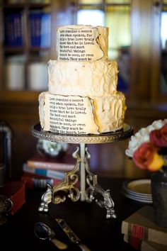 Wedding Cake with Script
