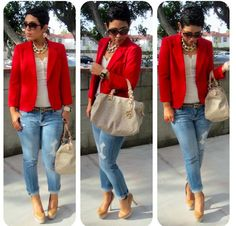 Cute and casual in a red blazer and boyfriend jeans Mode Outfits, Fall Outfits, Casual Outfits, Fashion Outfits, Fashion Trends, Fashion Ideas, Fashion 2015, Office Outfits, Diy Fashion