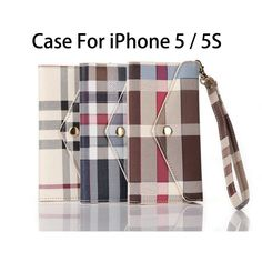 Plaid Pattern Flip Wallet PU Leather Case Cover For Apple iPhone 5 5S SE With Card Holder Handbag Phone Case Hot selling !!!