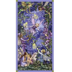 """Michael Miller Night Flower Fairies by Cecily Mary Barker DC5044 Nite Fairies Panel 24"""" $7.95/panel"""