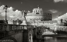 A view of Castel Sant'Angelo, or the Mausoleum of Hadrian, seen from the Aelian Bridge, In Rome, Italy.