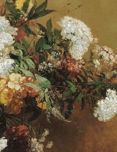 ❀ Blooming Brushwork ❀ - garden and still life flower paintings - Eugène Delacroix | Corbeille de fleurs (detail), 1864