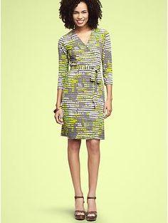 Gap printed wrap dress