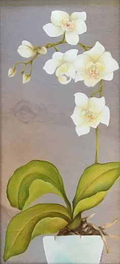 """""""White Orchid"""" by Christine Halton - CH587 White Orchids, The Originals, Wood, Frame, Plants, Painting, Art, Picture Frame, Art Background"""
