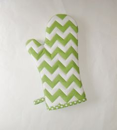 Oven Mitt  Green and White Chevrons  Gift for by pasqueflower