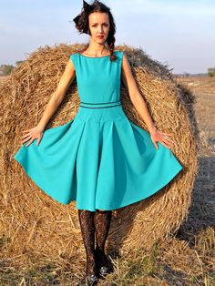 Тurquoise Vintage Style Dress by HannaBoutiqueHB on Etsy, Vintage Style Dresses, Shades Of Blue, Fashion Dresses, Vintage Fashion, Turquoise, Boutique, Etsy, Clothes, Fashion Show Dresses