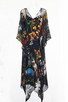 Orchids Tropical Birds and Flowers Pure Silk by MollyKaftans, $179.00