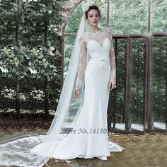 Vestidos de Noiva Com Manga Longa Latest Design White Mermaid Wedding Dress Long Sleeve Lace Bride Dresses 2016 Jewel Applique