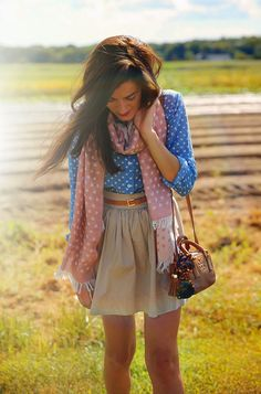 Love the color and print of the top and scarf. The style and color of the skirt are great but it's a bit too short for me.