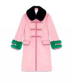 Gucci pink fur trimmed coat.