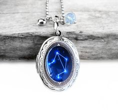 """$29.99 Handmade Resin """"Libra"""" Constellation Sign Silver Oval Picture Locket Sterling Silver Necklace http://www.etsy.com/shop/wflead http://www.etsy.com/shop/xiaostop"""