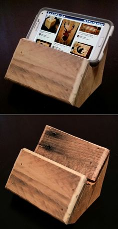 Pallet wood cellphone stand.