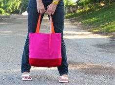 TUTORIAL: Reversible, Lined, Color-blocked TOTE | MADE - think a bright pink bag is too much for church :)?