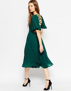 Image 1 ofASOS Lace Up Back Kaftan Sleeve Midi Dress