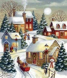 Autone Christmas Snow Scene DIY Full Diamond Embroidery Painting Cross Stitch Craft Home *** You could get added information at the photo web link. (This is an affiliate link). Noel Christmas, Vintage Christmas Cards, Vintage Holiday, Winter Christmas, Christmas Crafts, Christmas Decorations, Winter Snow, Christmas Greetings, Vintage Cards