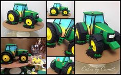 John Deere tractor cake Truck Cakes, Tractor Cakes, Tractor Wedding, Motorbike Cake, Deer Cakes, 2 Birthday Cake, Farm Yard, Cakes For Boys, Cute Cakes
