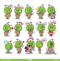 YOYOo : Fruits & More Character design. on Behance Brand Character, Character Modeling, Character Design, Logo Design Inspiration, Character Inspiration, Cartoon Expression, Handmade Soft Toys, Web Design Software, Isometric Design