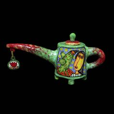 Ceramic teapot , Glaze painting, teapot with decor, Handmade item  Primary color: Green  Secondary color: Rainbow  Holiday: Christmas  Occasion: Birthday  Materials: ceramics, Chamotte, glaze, Clay, painted ceramics, a painted clay, clay art, ceramic art  Ships worldwide from Ukraine