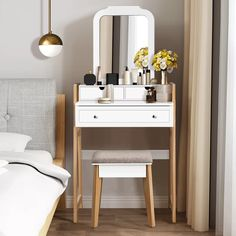 makeup table Ebern Designs Crebilly Makeup Vanity Table W/ 3 Drawers amp; Mirror Dressing Table And Cushioned Stool Set Vanity Table Set, Vanity Set With Mirror, 6 Drawer Dressing Table, Small Dressing Table, Makeup Dressing Table, Make Up Tisch, Wood Table Legs, Makeup Table Vanity, Bedroom Makeup Vanity
