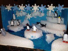 #Winter_diorama_inspiraties First Grade Projects, Kindergarten Projects, School Projects, Projects For Kids, Project Ideas, Diorama Kids, Kids Homework, Animal Projects, Winter Theme