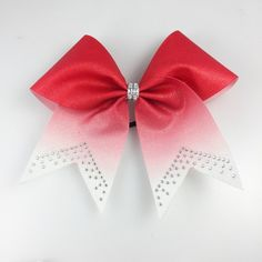 Red Glitter Ombre Cheer Bow ($9.99) ❤ liked on Polyvore featuring accessories, hair accessories, red bow hair accessories, ponytail hair ties, red hair ties, rhinestone hair accessories and glitter hair ties