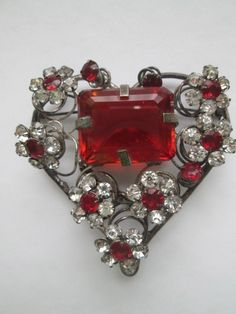 Rare 1930s large brooch red heart flowers rhinestone valentines day vintage Jewelry    Spread the love with this amazing huge heart brooch! My dear