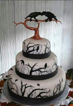 Maine wedding cakes, Maine Custom Cakes, specializing in unique specialty cakes that are made from scratch, frosted in homemade butter cream, and decorated with fondant. Bolo Halloween, Halloween Wedding Cakes, Fete Halloween, Halloween Cakes, Gothic Halloween, Halloween Foods, Halloween 2013, Halloween Birthday, Scary Halloween