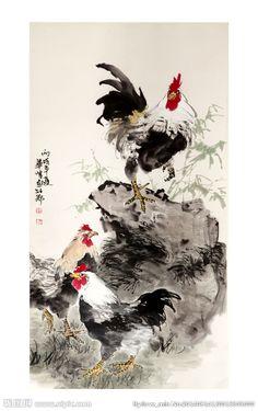 国画公鸡 Watercolor Negative Painting, Watercolor Bird, Ink Painting, Rooster Painting, Rooster Art, Chinese Painting Flowers, Chinese Drawings, Art Chinois, Japan Painting