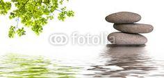 bannière zen, galets et feuilles d'érable