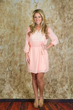 Pink Coconut Boutique | Lost Without You Dress - Peach