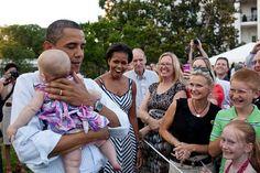 The Prez loves babies.