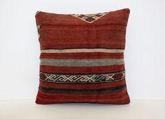 "Handmade Kilim PILLOW CUSHION COVER - Anatolian Pillow Kilim Cover 16"" x 16"" #Anatolian"