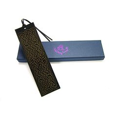 Quality Leather Bookmark - Celtic Maze -  laser cut & engraved calf leather gift boxed made in England in assorted colours