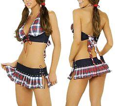 US Sexy Lingerie School Girl Plaid Mini Skirt Costume Fancy Dress Set Sleepwears School Girl Fancy Dress, Fancy Dress Uniform, Maid Fancy Dress, Fancy Dress Outfits, School Girl Outfit, School Uniform Girls, Girls Uniforms, School Uniforms, Dress Casual