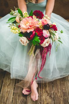Styled shoot featuring a bouquet in champagne, marsala, pale yellow and peach