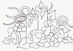 desenho de velas de natal com rosas, uvas e velas para pintar em tecido