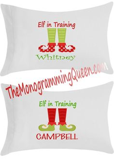 Personalized Elf in Training Pillowcase Elf, Pillow Cases, Monogram, Training, Christmas, Xmas, Elves, Monograms, Work Outs