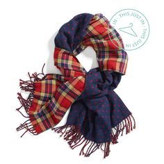 The best of all (print) worlds. A reversible scarf gives you 3 looks in 1: dots, plaid or both! #trendalert