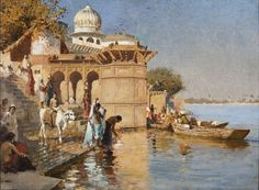Edwin Lord Weeks - Along the Ghats, Mathura [c.1880] | Edwin Lord Weeks (Boston, Massachusetts, 1849 – Paris, 1903) was an American artist. He was a pupil of Leon Bonnat and of Jean-Leon Gerome in Paris. He made many voyages to the East, and was distinguished as a painter of oriental scenes.