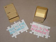 """Puzzle """"Veux-tu être mon Parrain + ma Marraine"""" dans un petit colis pour faire votre demande : Faire-part par saperlietpopette"""