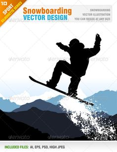 Snowboarding #GraphicRiver Vector illustration of snowboarder. You can resize at any size. Ai, eps, psd, and jpeg files included in the zip file. You can see other snowboarding illustrations from my portfolio.. Please, dont forget to rate my vectors! Thank you SPORT Created: 17October13 GraphicsFilesIncluded: PhotoshopPSD #JPGImage #VectorEPS #AIIllustrator Layered: Yes
