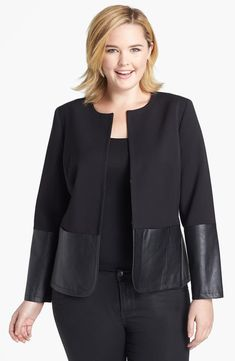 Anne Klein Faux Leather Trim Jacket (Plus Size) - Women Style Ideas Office Look Women, Office Outfits Women, Fall Outfits For Work, Anne Klein, Nordstrom Coats, Dress With Jean Jacket, Business Professional Attire, Casual Work Attire, Collarless Jacket