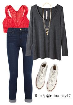 """""""Outfit inspiration to @emmig02 for my outfit tomorrow"""" by robramey17 ❤ liked on Polyvore featuring Aerie, Converse, Frame Denim, Raquel Allegra, Gorjana and rob_schoolstyle"""