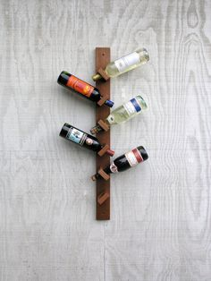 Modern Rustic Hanging Wood Wine Rack - Exotic African Makore wood - 6 bottle wine rack on Etsy, $140.71