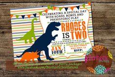 Dinosaur Birthday Invitation, Dino, T-Rex, Brontosaurus, Triceratops Birthday, Dinosaur theme printable birthday party invitation by InvitasticInvites on Etsy https://www.etsy.com/listing/212496451/dinosaur-birthday-invitation-dino-t-rex