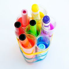 Felt pen watercolours - soak dried up/ squished textas in water overnight to make your own ink! Also has other great ideas for homemade art materials as well as heaps of projects Projects For Kids, Craft Projects, Crafts For Kids, Arts And Crafts, Paper Crafts, Craft Ideas, Mason Jar Crafts, Mason Jar Diy, Homemade Art