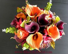 sangria bouquet   Real Touch Wedding Flowers in Orange, Sangria, Purple and Green- Fall ...