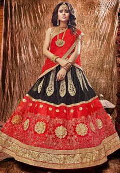 Buy Embroidered Net Lehenga in Black and Red online, work: Embroidered, color: Black / Red, usage: Wedding, category: Lehenga Choli, fabric: Net, price: $65.02, item code: LZR179, gender: women, brand: Utsav