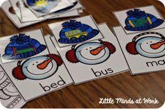 Winter literacy centers- CVC Snowmen Match-ups